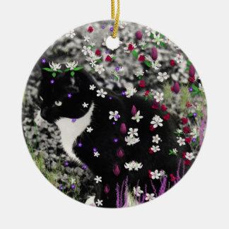 Freckles in Flowers I - Tux Cat Ceramic Ornament