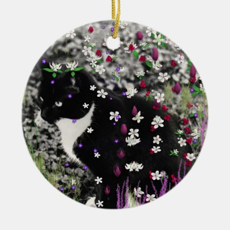 Freckles in Flowers I - Tux Cat Ceramic Ornament