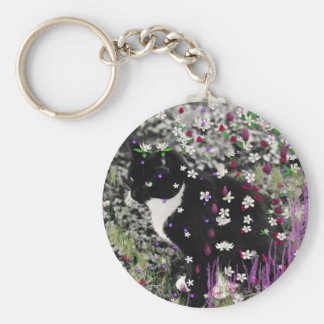 Freckles in Flowers I - Tux Cat Key Chain