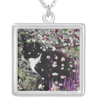 Freckles in Flowers I - Tux Cat Pendants