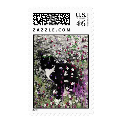 Freckles in Flowers I - Tux Cat Postage Stamp