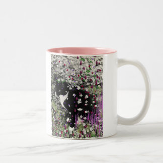 Freckles in Flowers I - Tux Cat Two-Tone Coffee Mug