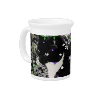 Freckles in Flowers I - Tux Kitty Cat Beverage Pitchers