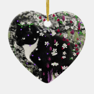 Freckles in Flowers I - Tux Kitty Cat Ceramic Ornament