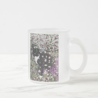 Freckles in Flowers I - Tux Kitty Cat Frosted Glass Coffee Mug