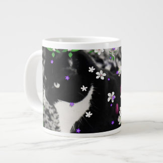 Freckles in Flowers I - Tux Kitty Cat Giant Coffee Mug