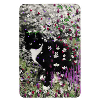 Freckles in Flowers I - Tux Kitty Cat Magnet