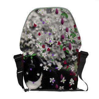 Freckles in Flowers I - Tux Kitty Cat Messenger Bag