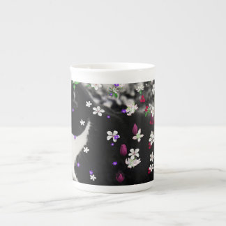 Freckles in Flowers I - Tux Kitty Cat Tea Cup