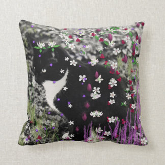Freckles in Flowers I - Tux Kitty Cat Throw Pillow