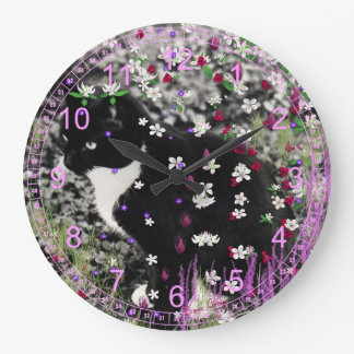Freckles in Flowers I - Tuxedo Kitty Cat Large Clock
