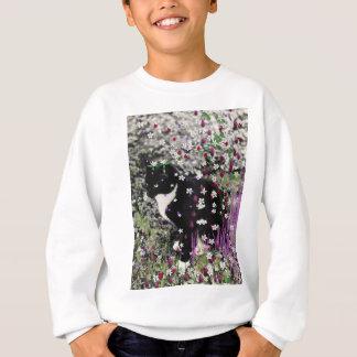 Freckles in Flowers I - Tuxedo Kitty Cat Sweatshirt