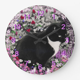 Freckles in Flowers II - Black and White Cat Large Clock