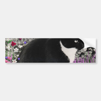 Freckles in Flowers II - Black and White Kitty Car Bumper Sticker