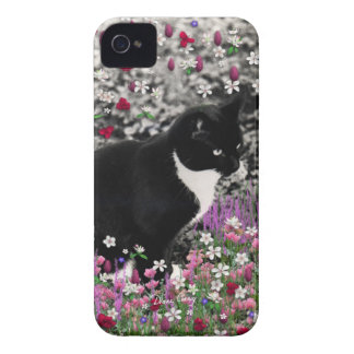Freckles in Flowers II - Black and White Kitty iPhone 4 Case