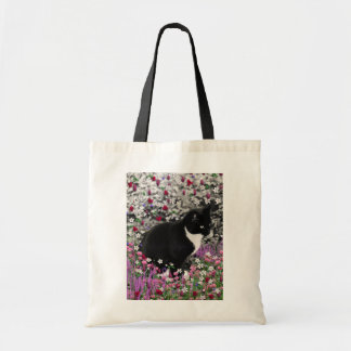 Freckles in Flowers II - Black and White Kitty Cat Tote Bag