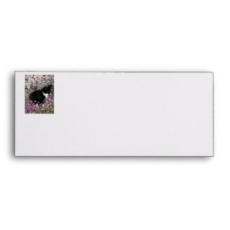 Freckles in Flowers II - Black and White Kitty Envelope