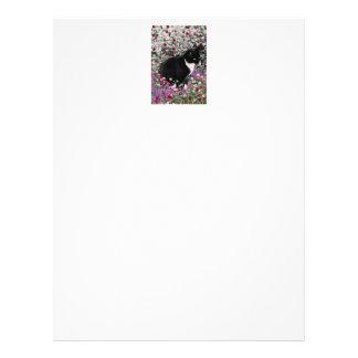 Freckles in Flowers II - Black and White Kitty Letterhead