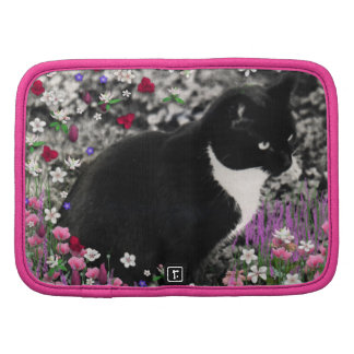 Freckles in Flowers II - Black and White Kitty Folio Planner