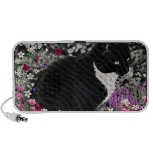 Freckles in Flowers II - Black and White Kitty PC Speakers