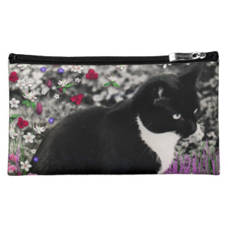 Freckles in Flowers II - Black and White Tux Cat Makeup Bags