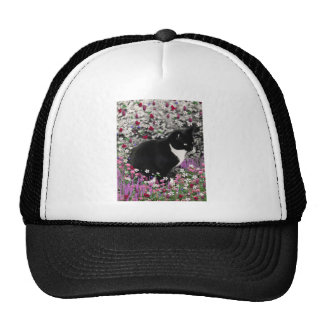 Freckles in Flowers II - Black and White Tux Cat Hats