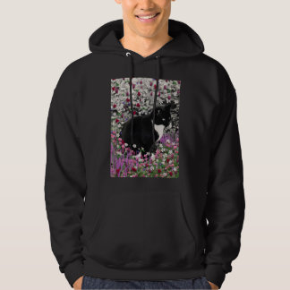 Freckles in Flowers II - Black and White Tux Cat Hoodie