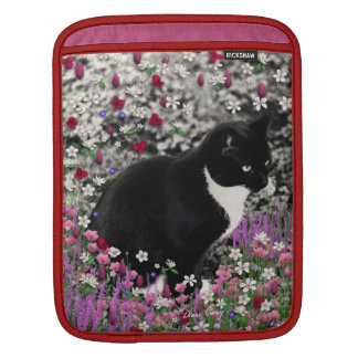 Freckles in Flowers II - Black and White Tux Cat Sleeves For iPads