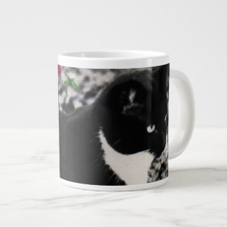 Freckles in Flowers II - Black and White Tux Cat Large Coffee Mug