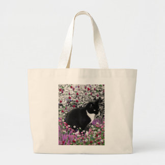 Freckles in Flowers II - Black and White Tux Cat Large Tote Bag