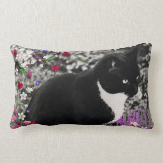 Freckles in Flowers II - Black and White Tux Cat Lumbar Pillow