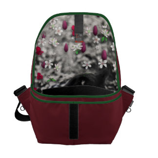 Freckles in Flowers II - Black and White Tux Cat Messenger Bags