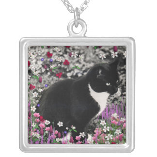 Freckles in Flowers II - Black and White Tux Cat Silver Plated Necklace