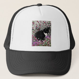Freckles in Flowers II - Black and White Tux Cat Trucker Hat
