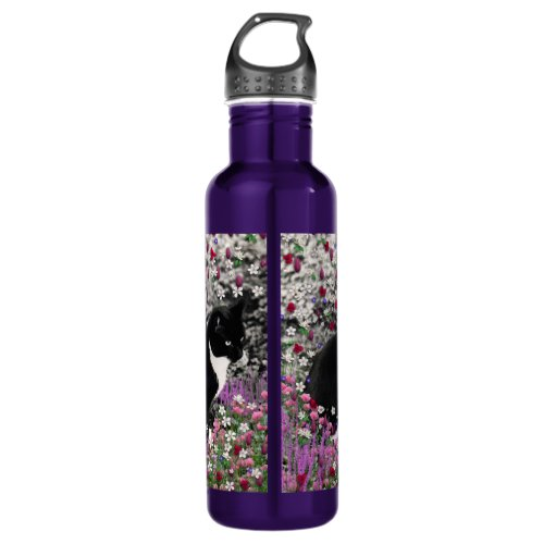 Freckles in Flowers II - Black and White Tux Cat Water Bottle