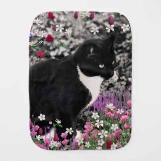 Freckles in Flowers II, Black and White Tuxedo Cat Burp Cloth
