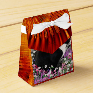 Freckles in Flowers II, Black and White Tuxedo Cat Favor Box