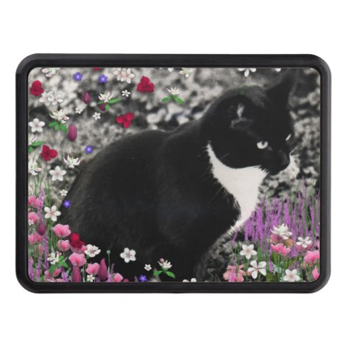 Freckles in Flowers II, Black and White Tuxedo Cat Hitch Cover