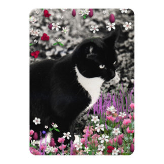 Freckles in Flowers II, Black and White Tuxedo Cat 5x7 Paper Invitation Card