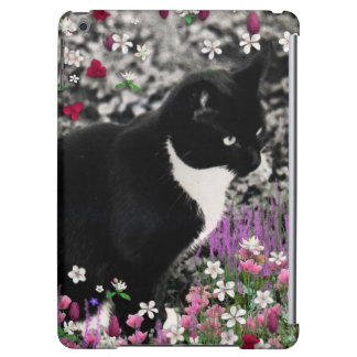 Freckles in Flowers II, Black and White Tuxedo Cat Cover For iPad Air