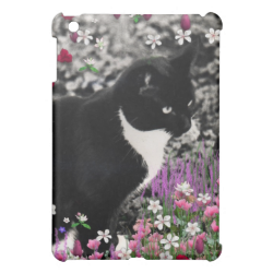 Freckles in Flowers II, Black and White Tuxedo Cat iPad Mini Covers