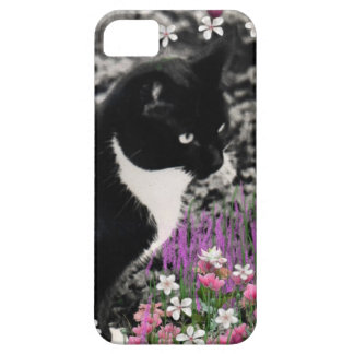 Freckles in Flowers II, Black and White Tuxedo Cat iPhone SE/5/5s Case