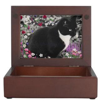 Freckles in Flowers II, Black and White Tuxedo Cat Keepsake Box