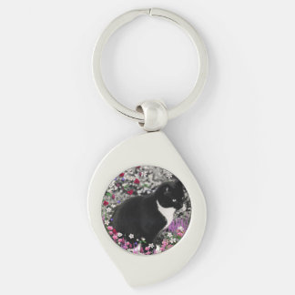Freckles in Flowers II, Black and White Tuxedo Cat Keychain