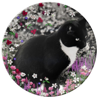 Freckles in Flowers II, Black and White Tuxedo Cat Porcelain Plate