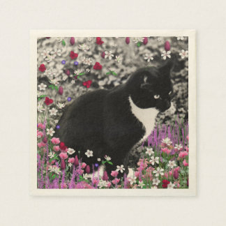 Freckles in Flowers II, Black and White Tuxedo Cat Napkin