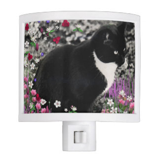 Freckles in Flowers II, Black and White Tuxedo Cat Night Light