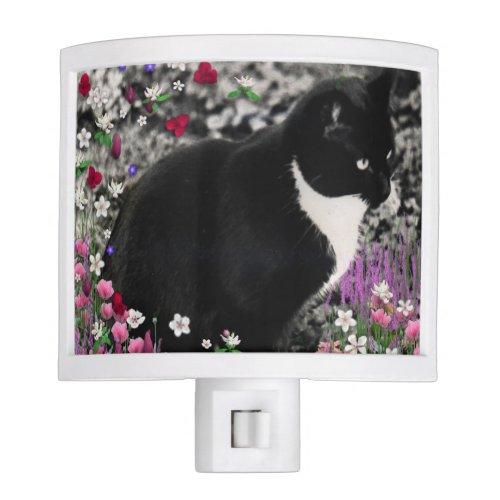 Freckles in Flowers II, Black and White Tuxedo Cat Night Light