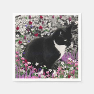 Freckles in Flowers II, Black and White Tuxedo Cat Paper Napkin