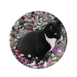 Freckles in Flowers II, Black and White Tuxedo Cat Plate